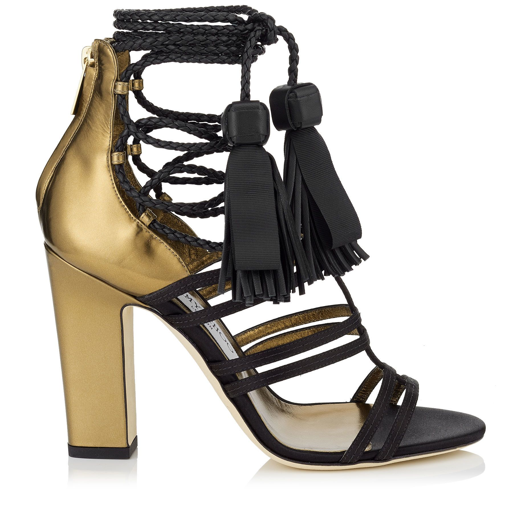 55be065ec79 Jimmy Choo DIAMOND 100 $995.00 Black Satin and Honey Gold Mirror Leather  Sandals