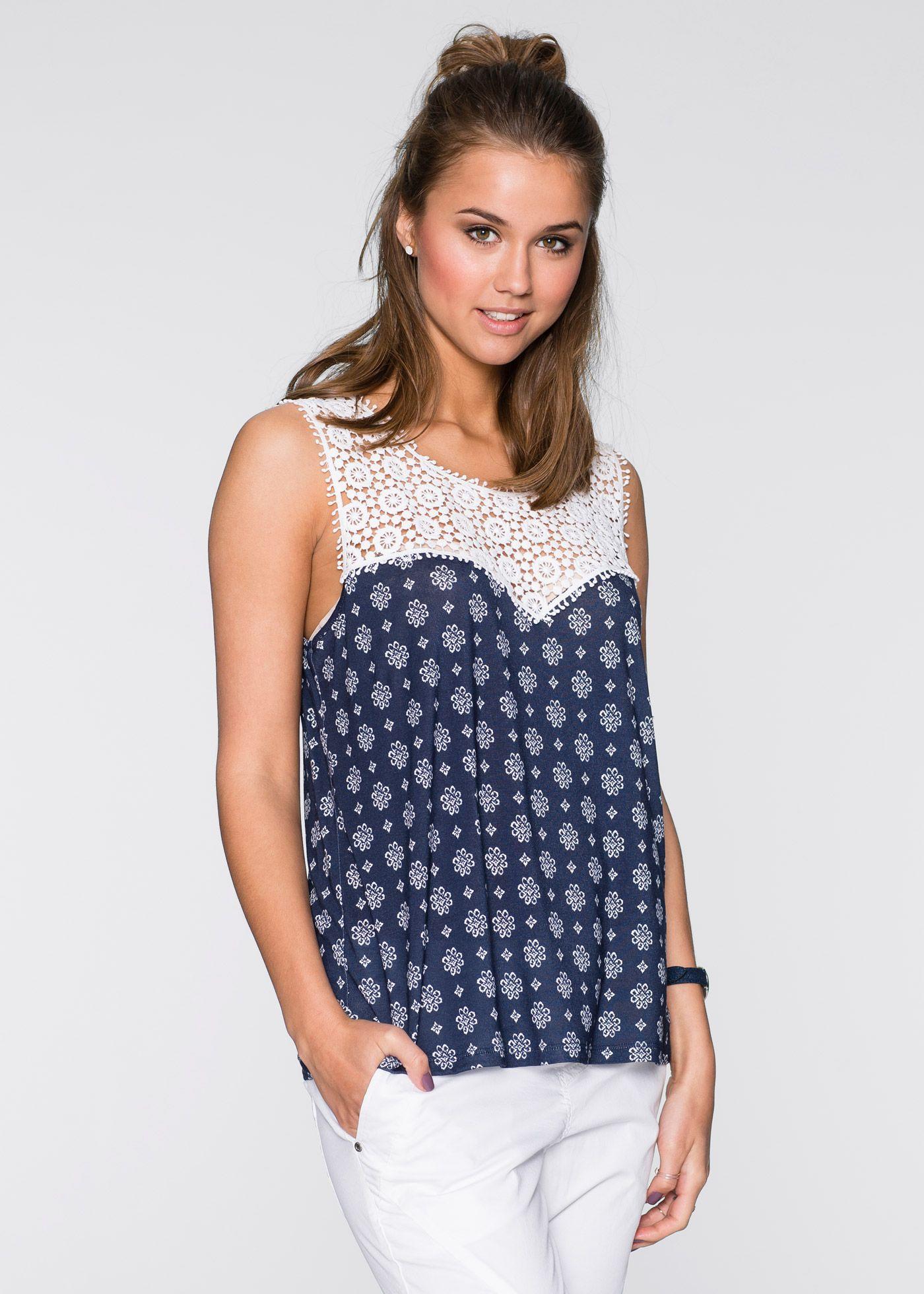 Shirt mit Spitze dunkelblau bedruckt - RAINBOW jetzt im Online Shop von bonprix.de ab ? 19,99 bestellen. Mit aufwendiger Spitze am Kragen und toll zu ...