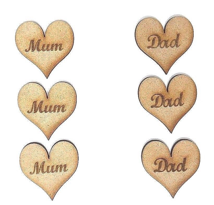 Wooden Heart With Mum Engraved Dad Engraved Heart Mum And Dad