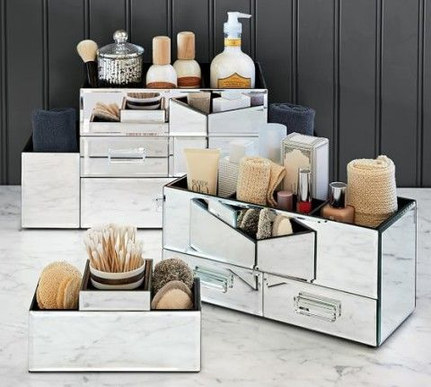 Mirrored Makeup Storage Pottery Barn Keep It Organized