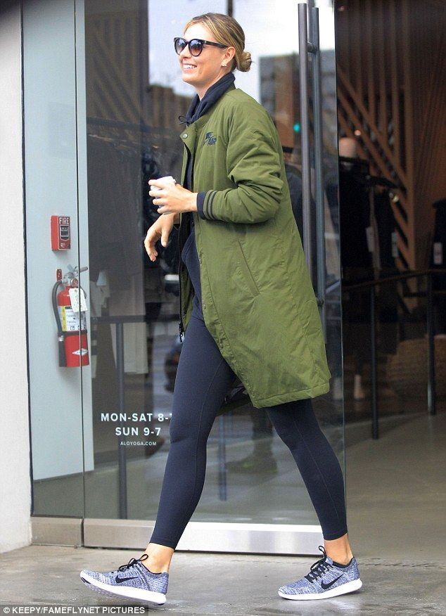 74e7e736099 Maria Sharapova was spotted leaving Alo Yoga store in Beverly Hills on  Friday with a huge smile on her face