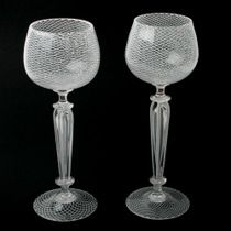White Cane Wine Goblets by Kenny Pieper – Fusion Art Glass Online Store