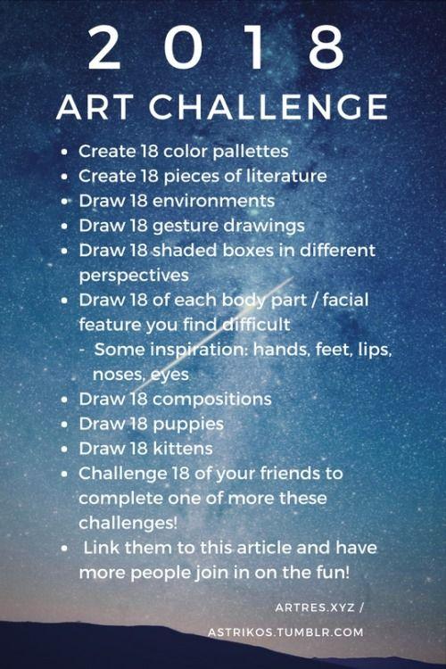 challenge yourself to improve your art in 2018 art tutorials