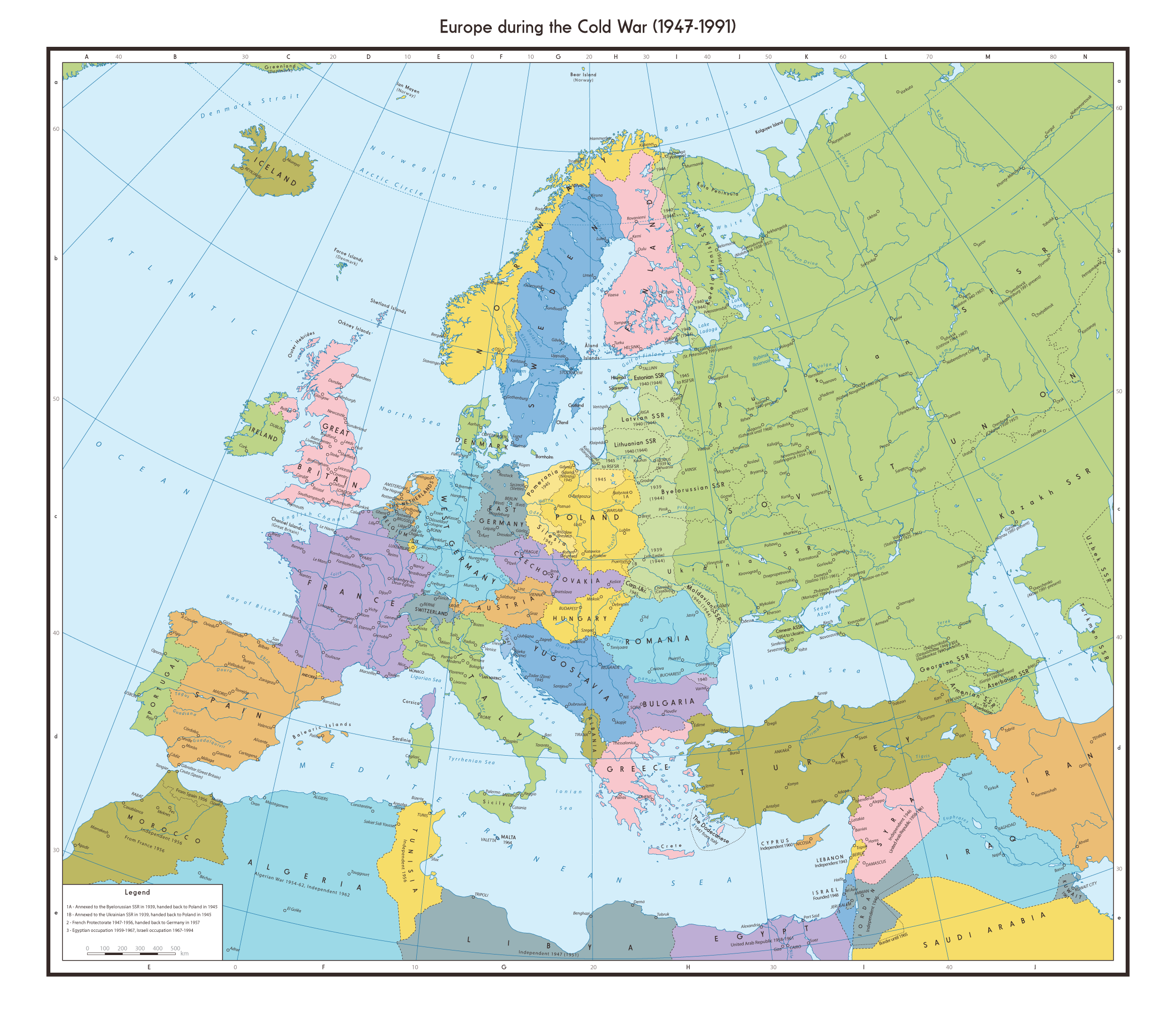 Map Of Europe During The Cold War