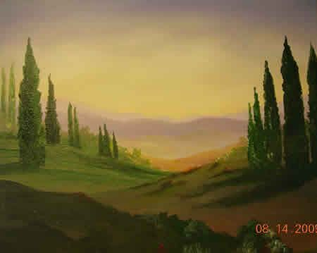 Tuscan landscape acrylic painting tutorial | Paint on a ...