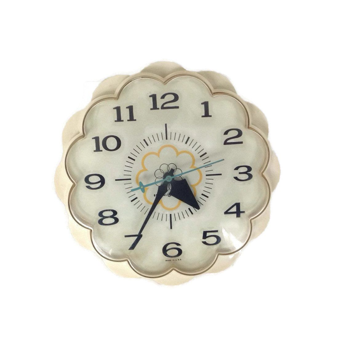 Merveilleux Vintage Wall Clock Mid Century 60u0027s Flower Vintage Kitchen General Electric