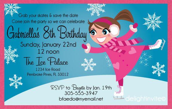 Free Printable Birthday Invitations Ice Skating Theme Invitation