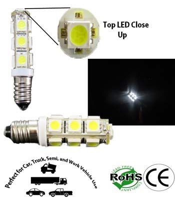 14876 Miniature Bulb E10 Base 13 5050 Led 12v Dc T3 1 4 Automotive Ledlight Led Bulb Led Light Bulb