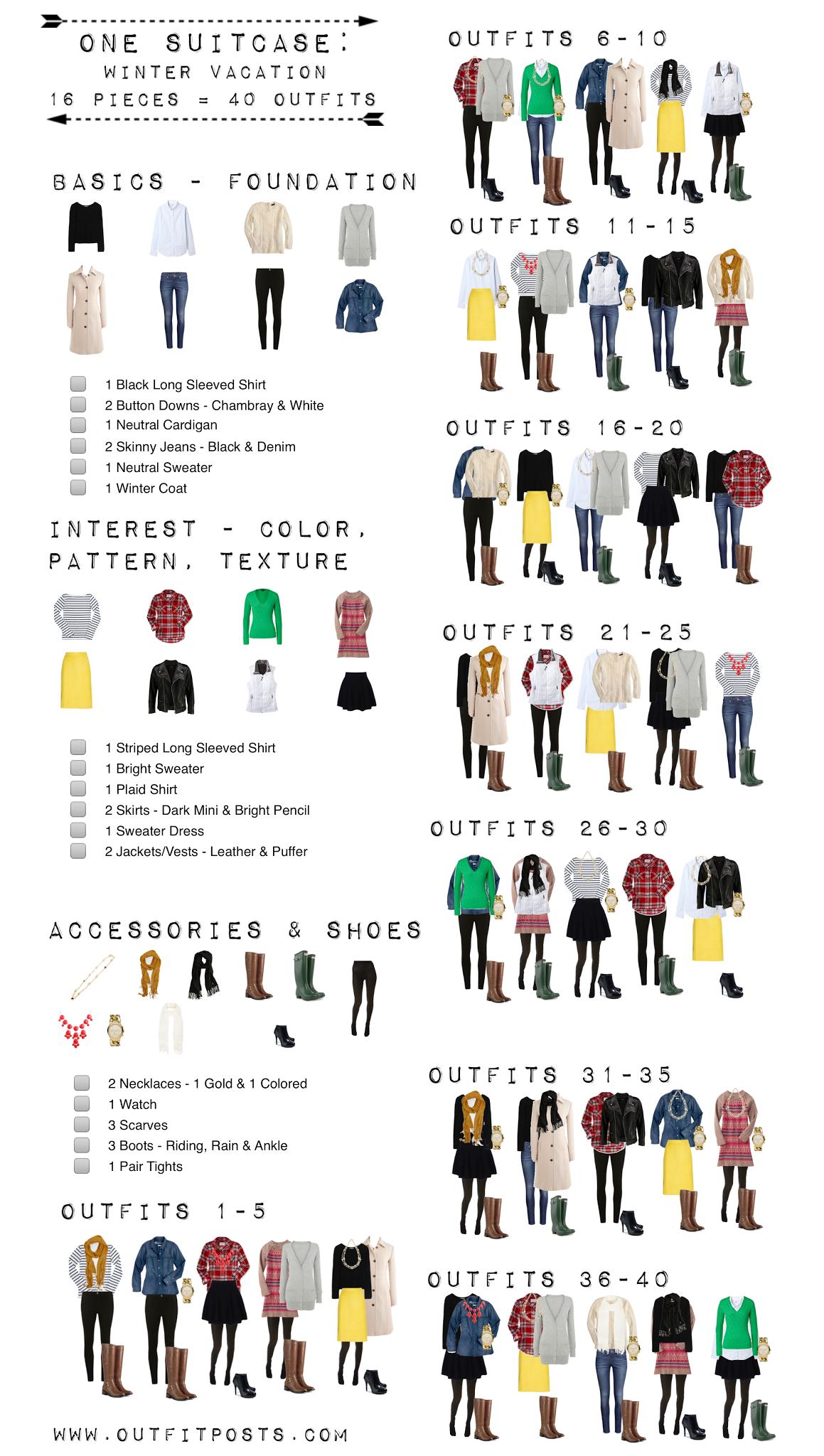 Winter vacation checklist graphic outfit posts core for Minimalistischer kleiderschrank