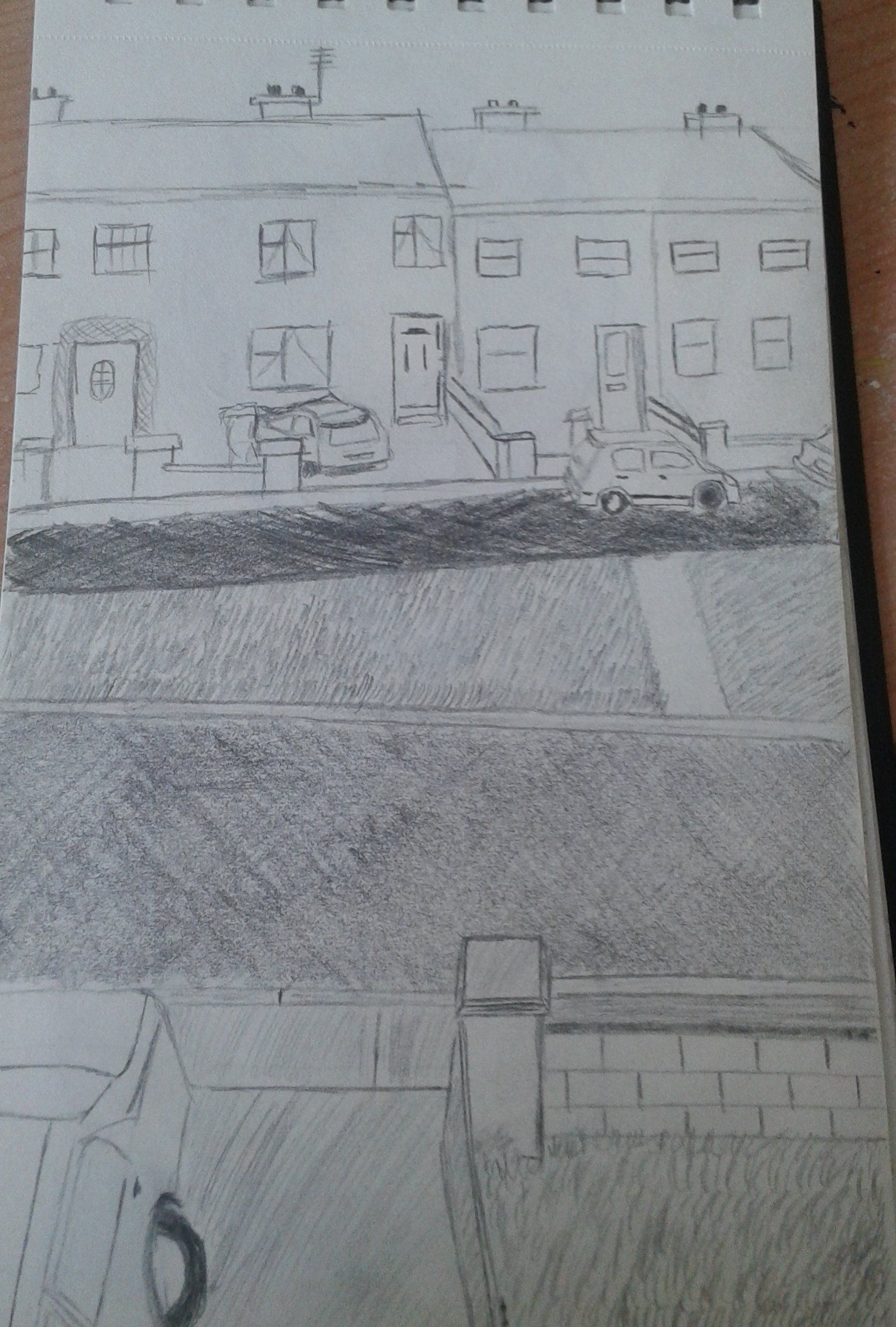 View from the bedroom window drawing with pencil