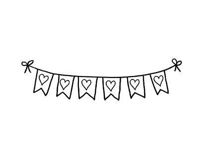 Vinilos Románticos Banderines con corazones 03474