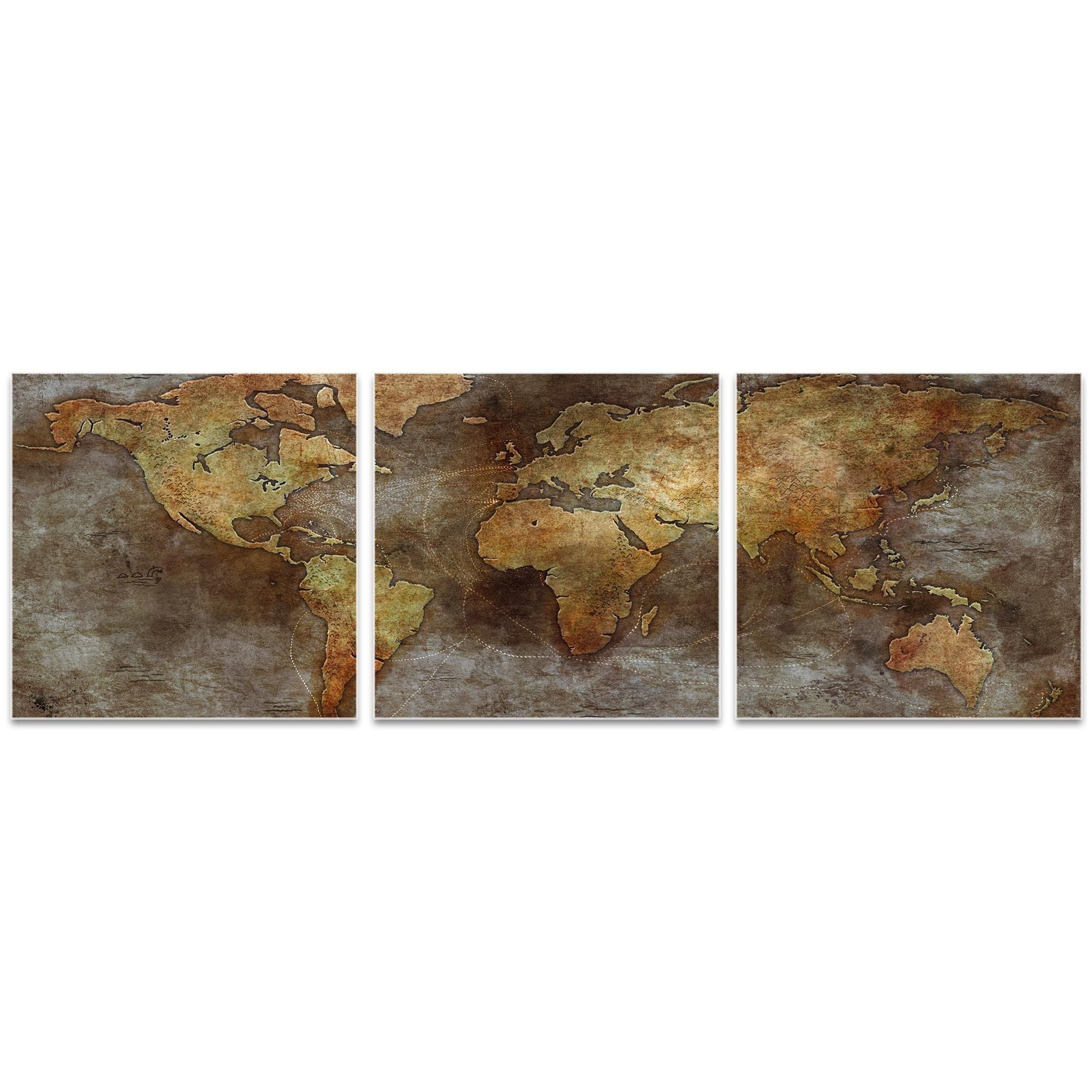 Ben judd us trade routes map triptych largeu world map art on