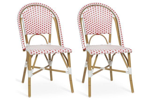Red Odeon Bistro Side Chairs   Set Of 2