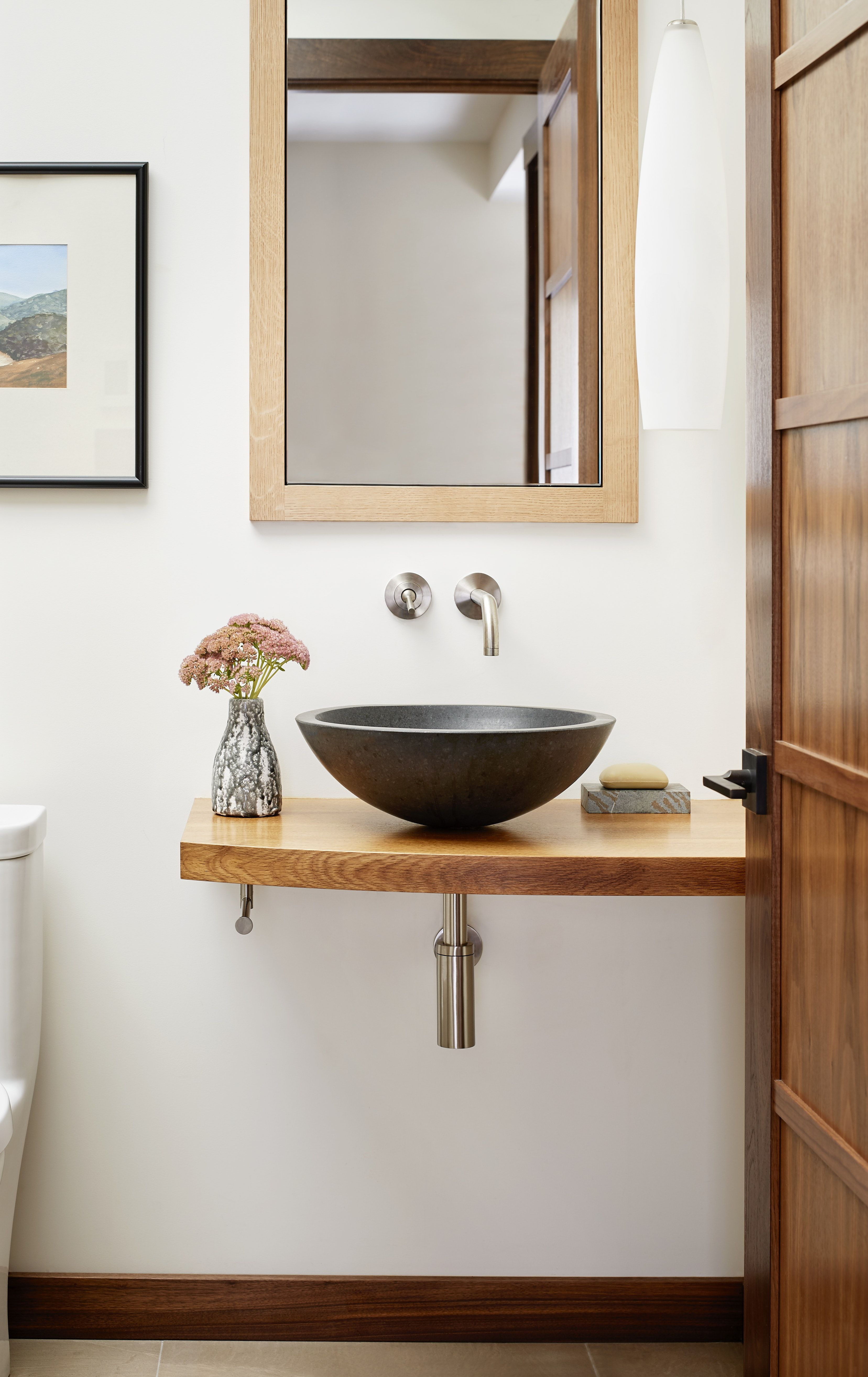 Soulful Home Powder Room With Vessel Sink And Exposed Plumbing Exposed Plumbing Powder Room Vanity Exposed Plumbing Bathroom Bathroom vanity exposed plumbing
