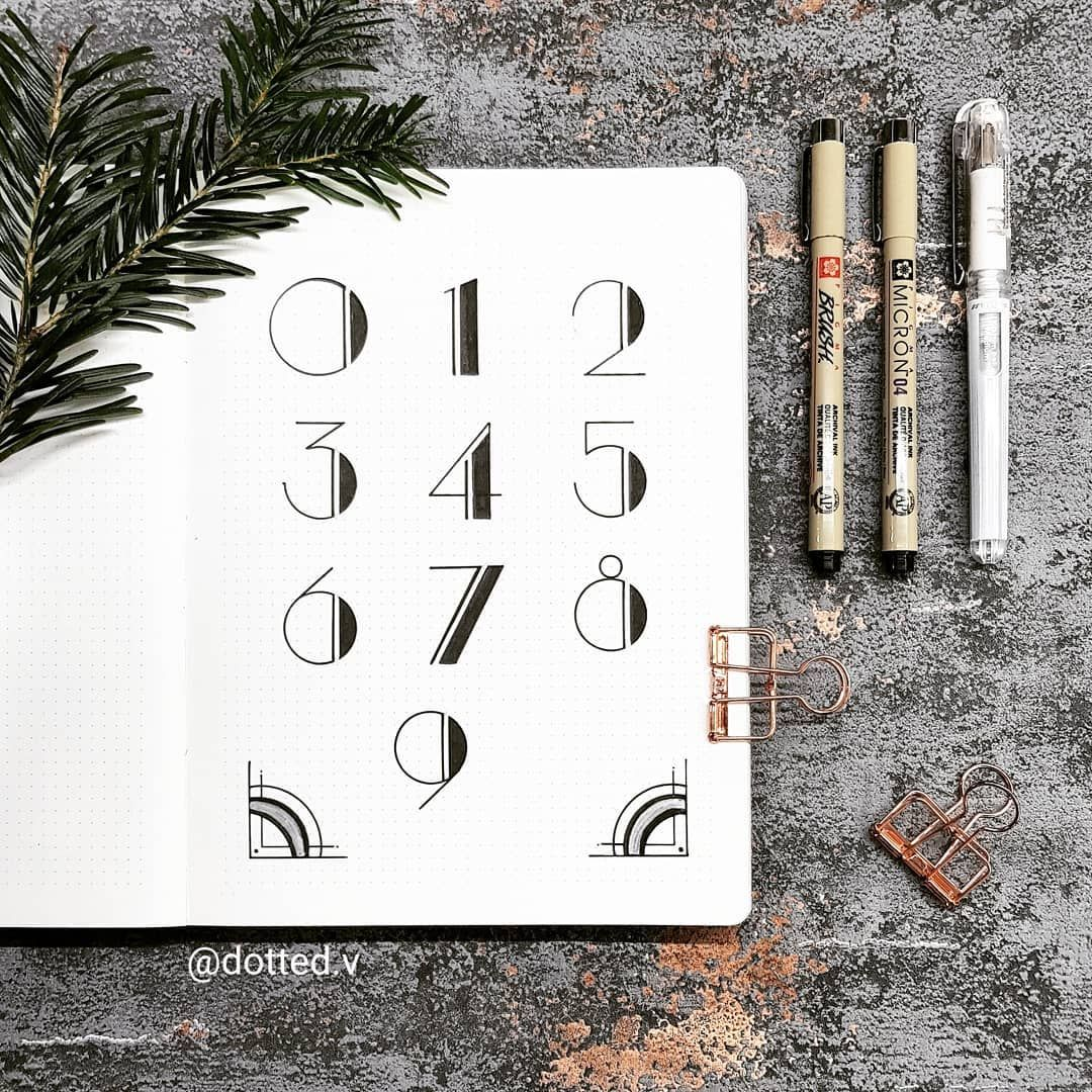 "V on Instagram: ""Here's my finished Art Deco number page? Glad you all liked the process video! ▪▪▪ #bujo #bulletjournal #font #artdeco #handwritten #nuuna…"""