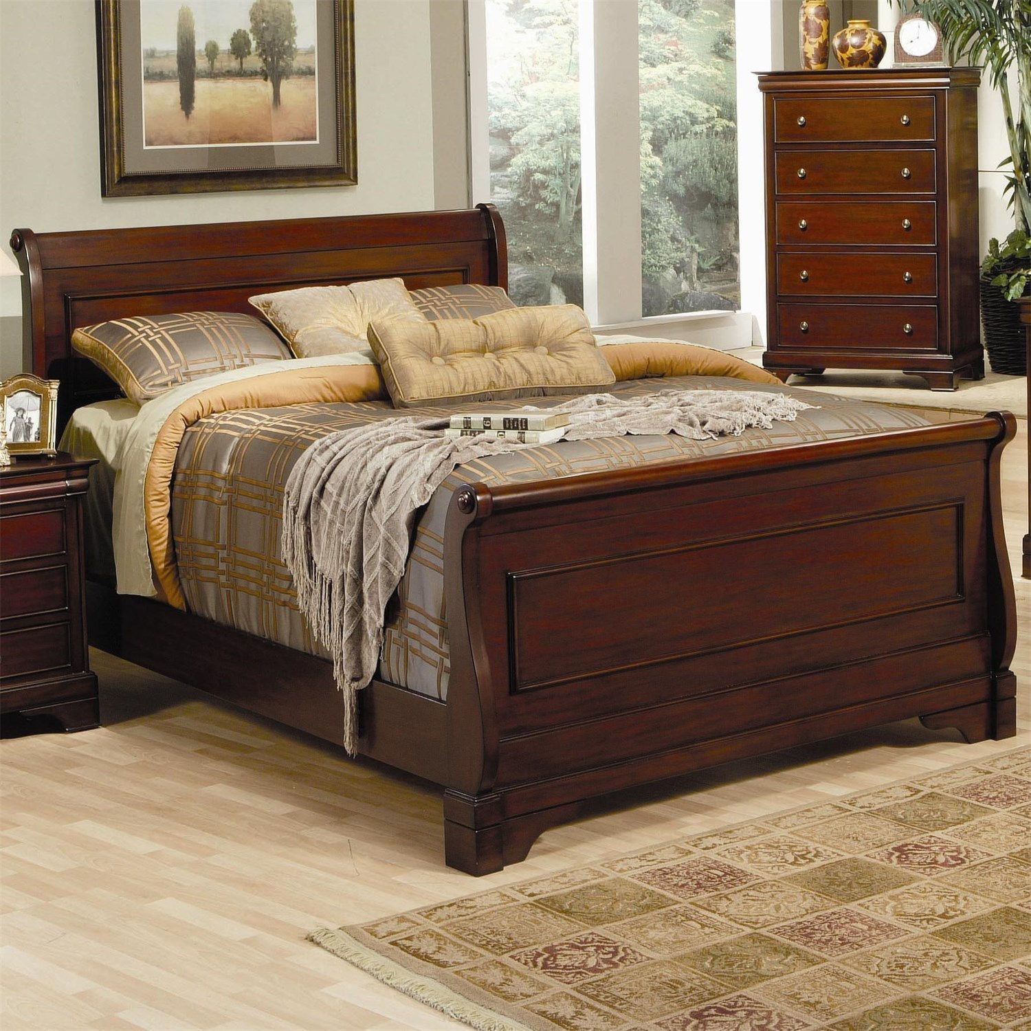Mahogany Sleigh Bed Queen
