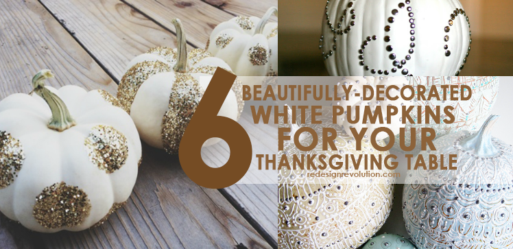 6 Beautifully-Decorated White Pumpkins