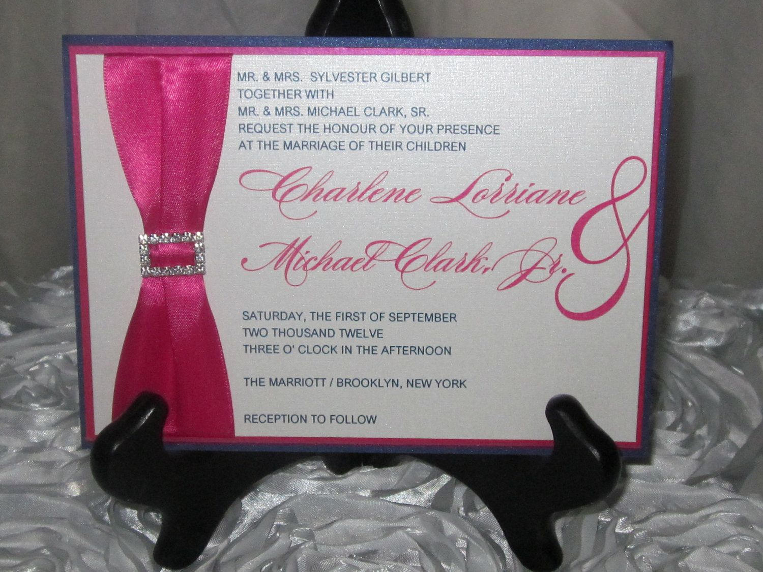 The charlene hot pink navy blue wedding invitation set for Navy blue and pink wedding