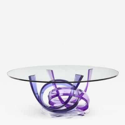 Haziza Indigo Violet Acrylic Ribbon Coffeetable by Shlomi Haziza