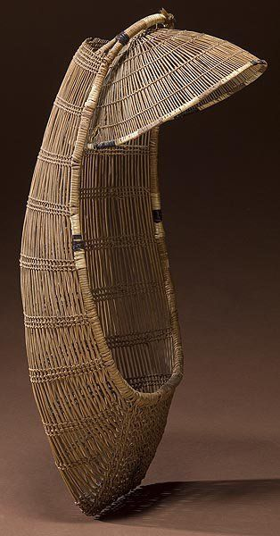 Hupa (California), Cradleboard with Sun Shade, plant fibers, c. 1900