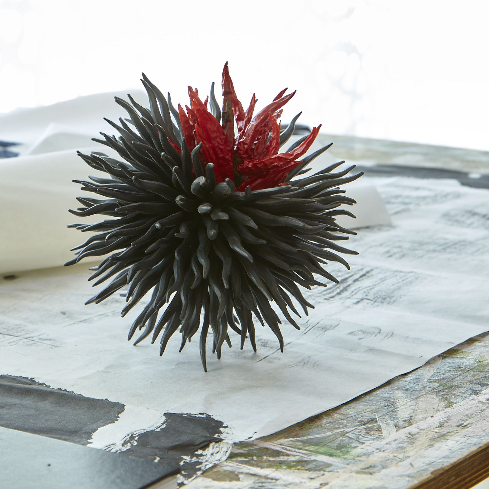 Junko Mori: Organism, 2006 Forged mild steel, wax coated with dried plants  http://no9thompson.com/news/post/3/introducing-origami