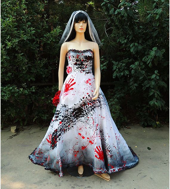 Roadkill Blackened, Burned, And Bloody Zombie Bride Gown