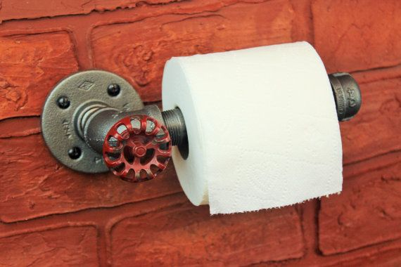 Industrial Pipe Toilet Paper Holder - Steampunk toilet roll holder ...