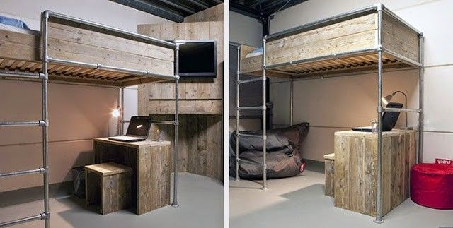 Two Versions Of A Loft Bed Made With Tubes And Boards From