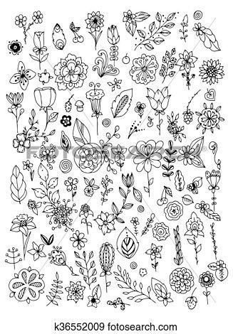 Satz, von, schwarz, weiß, gekritzel, blumen, leaves., hand ...