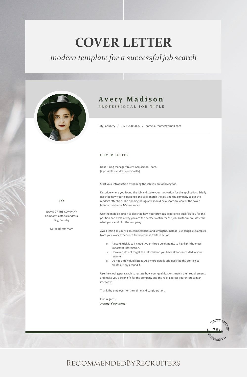 Modern Resume Template with Photo, Instant Download Resume