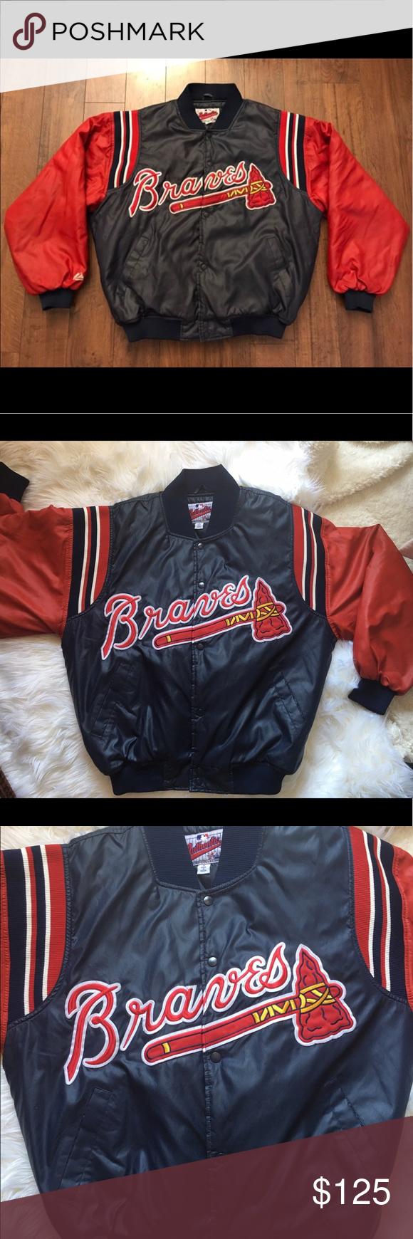 Vintage Mlb Authentic Atlanta Braves Varsityjacket Atlanta Braves Braves Jacket Buttons