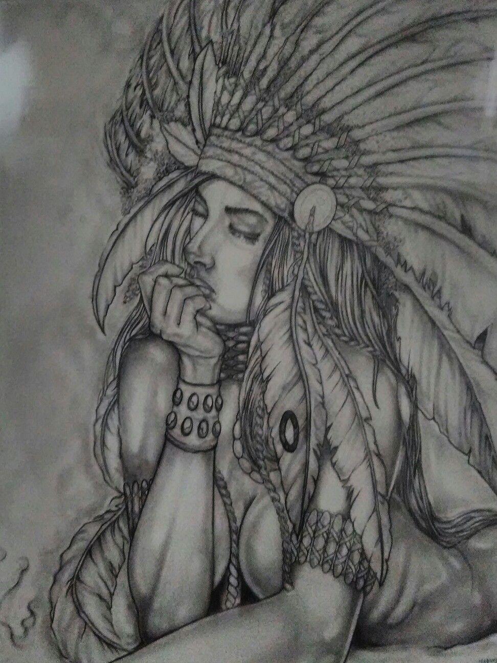 Indian girl pencil drawings native american