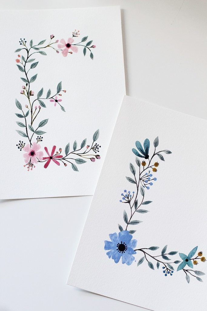 watercolor & painting. Floral Letters