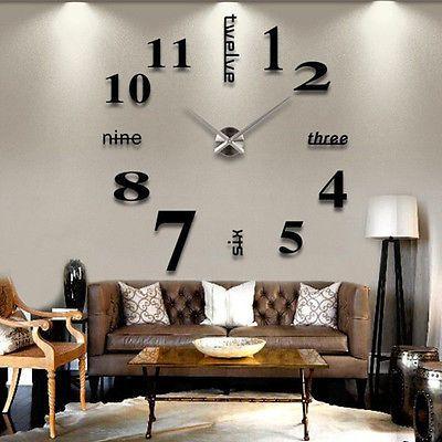 Modern DIY Large Wall Clock 3D Mirror Surface Sticker Home Decor Art - wanduhren wohnzimmer modern