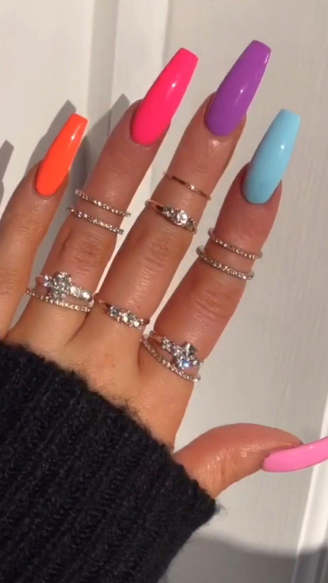 Longnails Ombrenails Neonnails Ombre Acrylicnails Acrylicpainting Acrylicnaildesigns Acry In 2020 Summer Acrylic Nails Acrylic Nail Designs Ombre Acrylic Nails