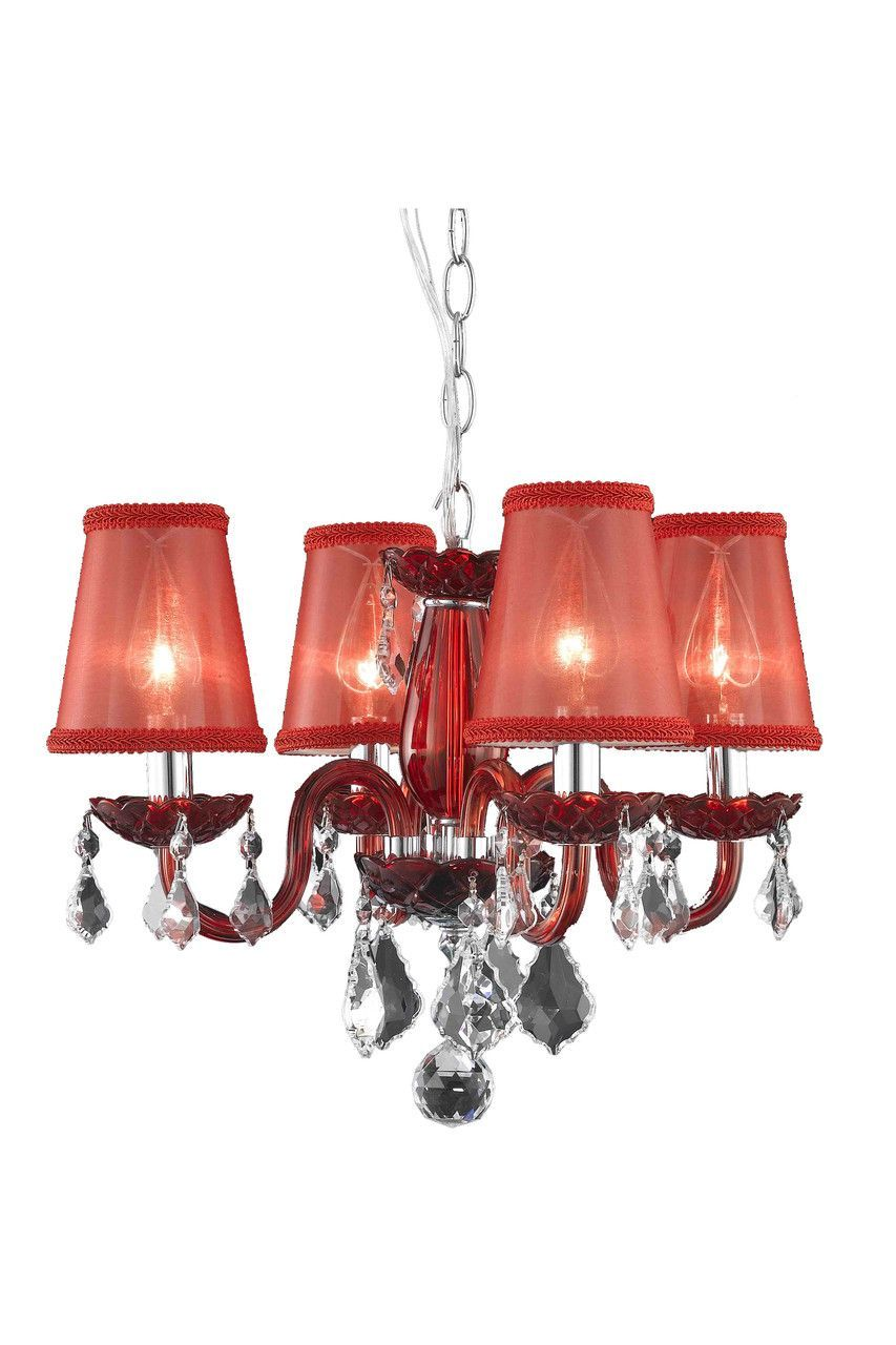 This Elegant Lighting Rococo Collection Light Red Chandelier In - Red chandelier crystals
