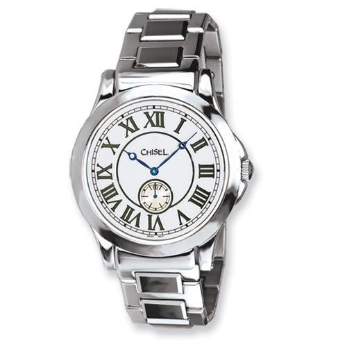 f49494f4a2c59d IceCarats Mens Chisel Tungsten   Stainless Steel White Dial Watch ...