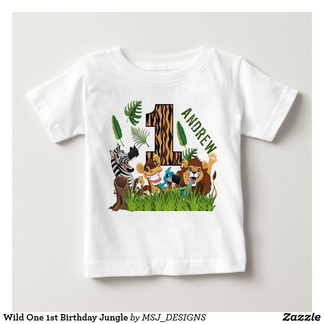 Wild One 1st Birthday Jungle Baby TShirt in