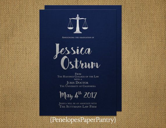 Elegant Law School Graduation Invitation And Announcement Navy And