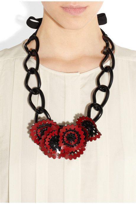 Marni acetate floral necklace - Red yL6BJ