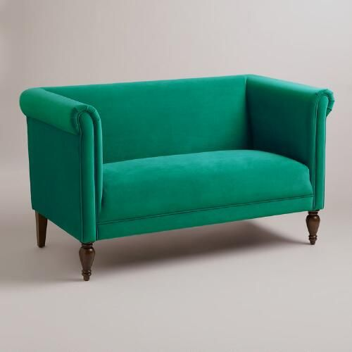 One of my favorite discoveries at WorldMarket.com: Emerald Green Velvet Marian Loveseat