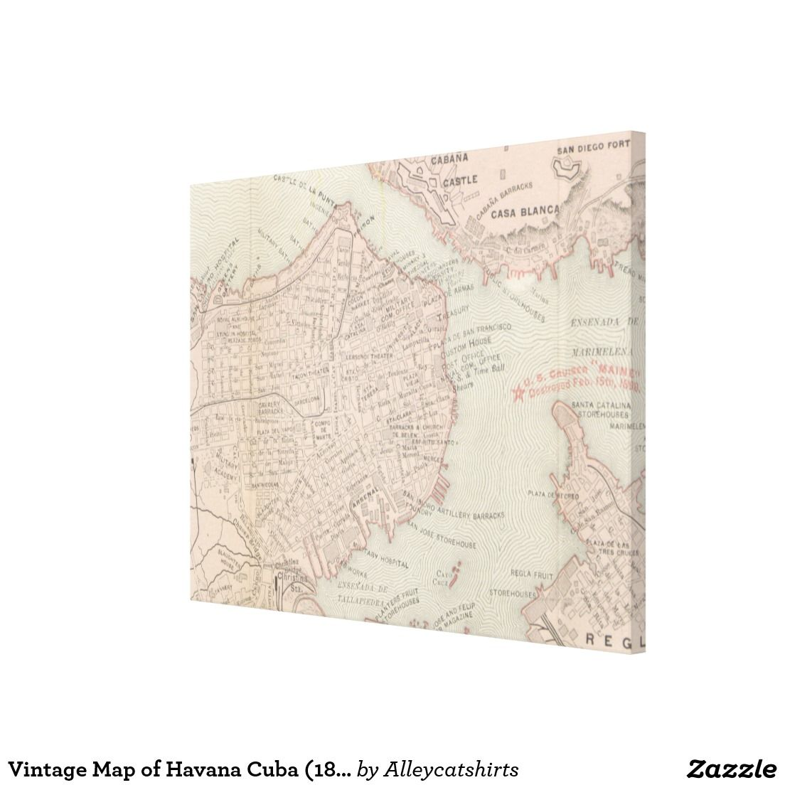 photograph relating to Printable Map of Havana named Classic Map of Havana Cuba (1898) Canvas Print