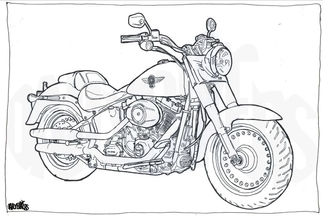 harley davidson fat boy colouring page
