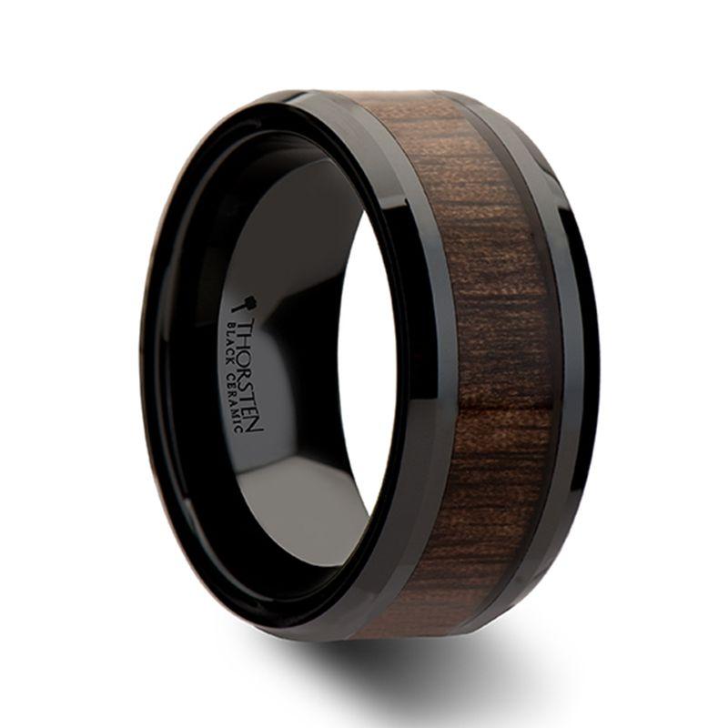 Yukon Beveled Black Ceramic Ring With Walnut Wood Inlay 10mm