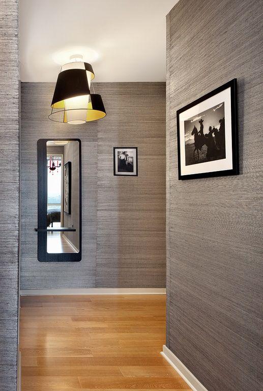 Contemporary Hallway with Hardwood floors, flush light ...