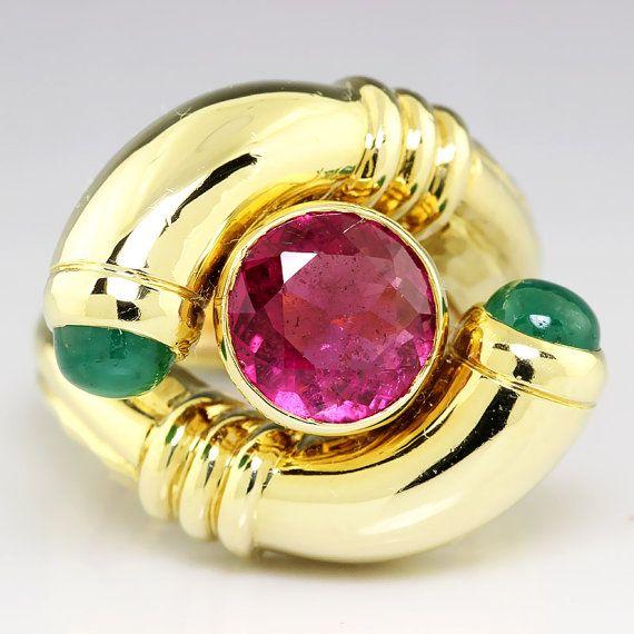 Vintage pink tourmaline & cabochon emerald  14kt Gold