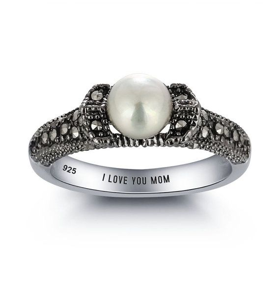 Marcasite Ring, Pearl Marcasite Ring, Marcasite Pearl, Vintage Marcasite, Engraved Personalized Sterling Silver  Marcasite Ring