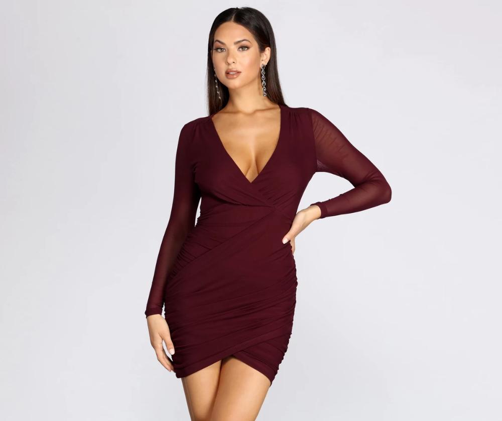 Miss Me Ruched Mini Dress In 2021 Mini Dress Dresses Maroon Homecoming Dress [ 838 x 1000 Pixel ]