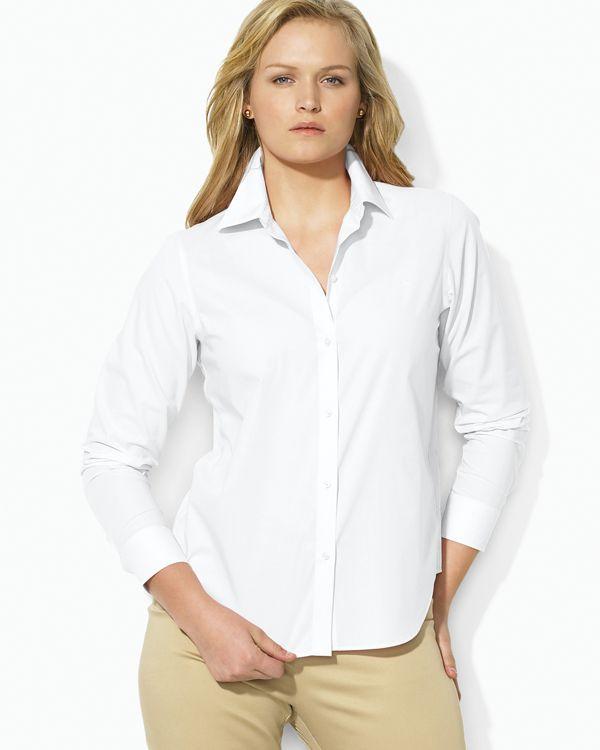 7c75d444faeb8 Lauren Ralph Lauren Plus Pinstriped No-Iron Shirt