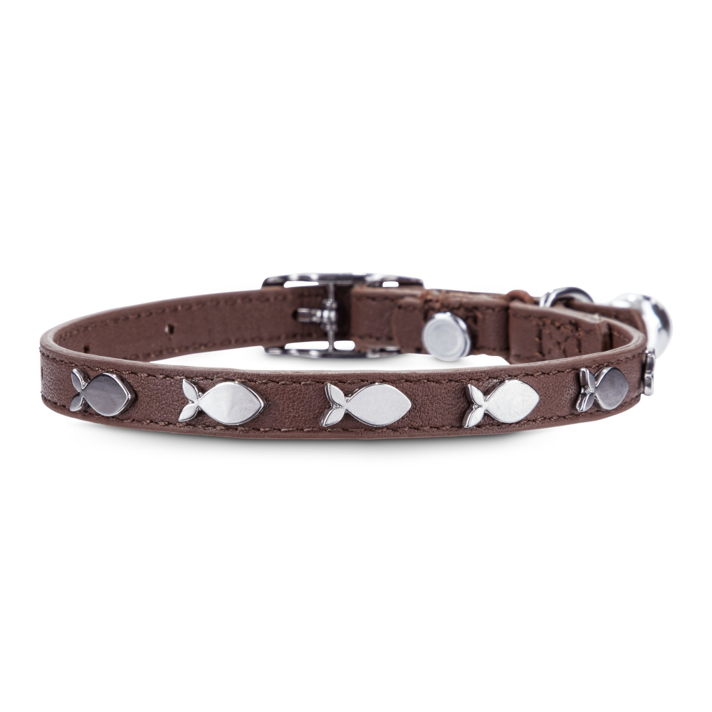 Bond Co Fish Charm Studded Brown Leather With Safety Stretch Cat Collar Petco Cat Collars Leather Cat Collars Brown Leather
